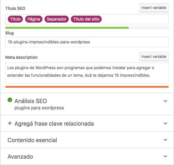 Recuadro de Yoast SEO desde donde podemos editar el texto y la meta descripción de una publicación