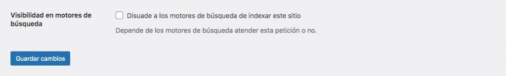 Panel de administración de WordPress desde donde podemos indicar que queremos que nuestro sitio web sea indexado